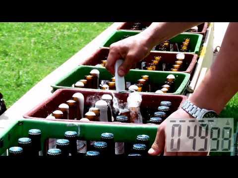 Otworzył 200 piw w 80 sekund