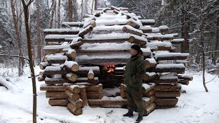 bushcraft, shelter in the forest. table