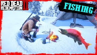 RDR2 Fishing in the mountains catching big SALMON and Cooking Gameplay