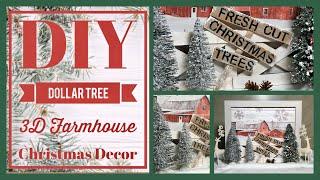 DIY Dollar Tree Farmhouse 3D Decor Sign With Wood Fence - Christmas Decor Ideas 2019 - Easy Craft