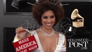 Joy Villa's barbed wire, #BuildTheWall #MAGA dress causes a stir on #Grammys Carpet