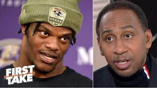 Stephen A. isn't ready to put Lamar Jackson ahead of Russell Wilson in the MVP race | First Take