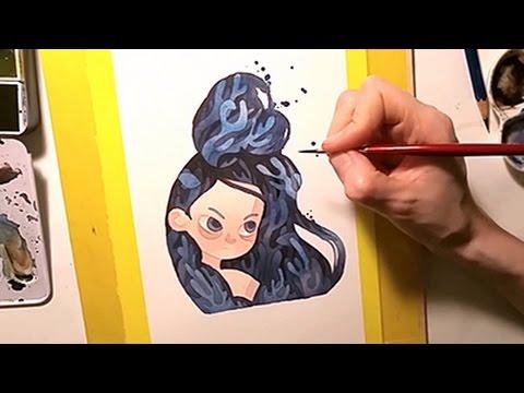 Watercolor Illustration coral-hair Mermaid Portrait Speedpainting by Iraville