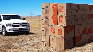 Speeding into a GIANT Box Fort with a Truck!!