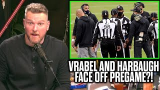 Pat McAfee Reacts To Mike Vrabel And John Harbaugh's Fight Pregame