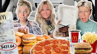 EATING What The PERSON in FRONT OF US ORDERS! DRIVE THRU CHALLENGE!