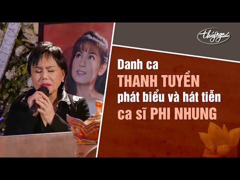 Danh ca Thanh Tuyền phát biểu và hát tiễn ca sĩ Phi Nhung.