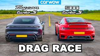 New Porsche 911 Turbo S vs Taycan Turbo S: DRAG RACE!
