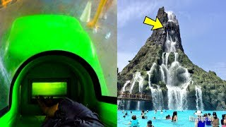 [4K] Volcano Bay - 2 Trap Doors Water Slides POV - Water Slides at the Top of the Volcano