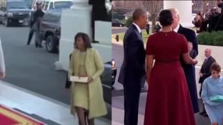 Đối lập cách Trump và Obama bước xuống xe cùng vợ