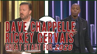 DAVE CHAPPELLE ACCEPTING SPEECH AND RICKY GERVAIS GOLDEN GLOBE MONOLOGUE 2020