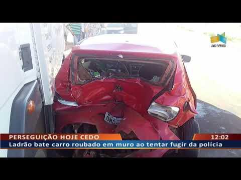 DF ALERTA -  Ladrão bate carro roubado em muro ao tentar fugir da polícia