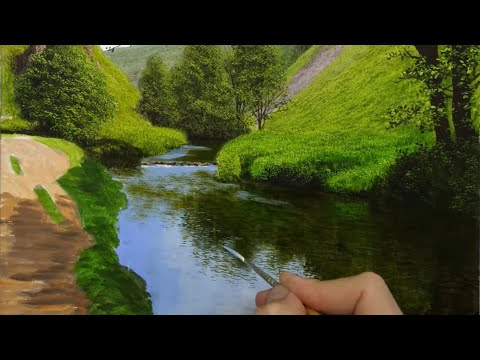 Painting a Landscape | River in the Valley | Timelapse