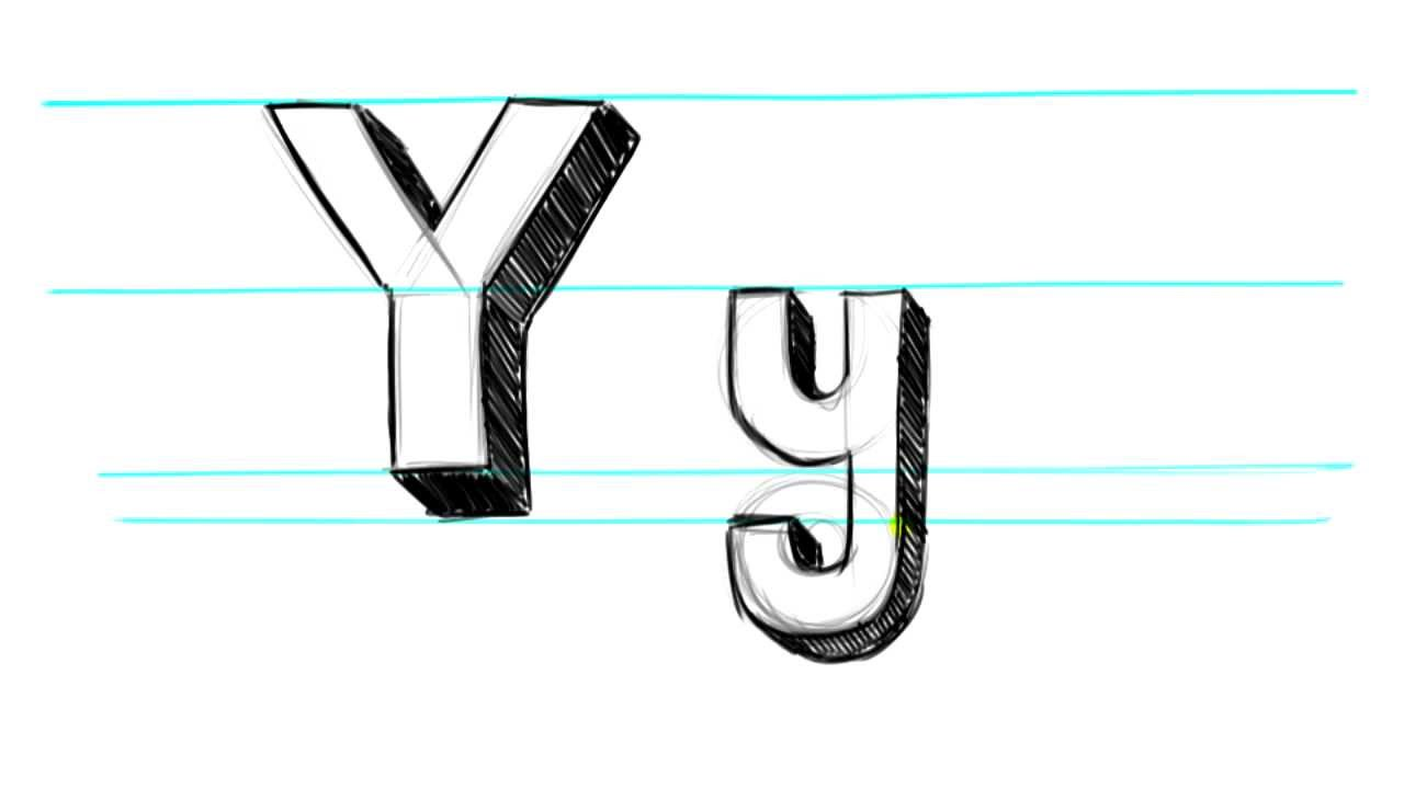 How to Draw 3D Letters Y - Uppercase Y and Lowercase y in ...