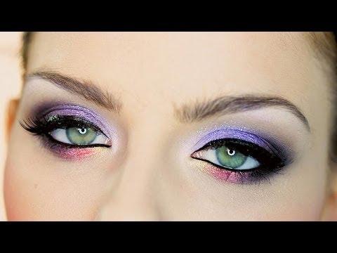 Makijaż karnawałowy-dla zielonej i brązowej tęczówki *fiolet, fuksja i żóty*
