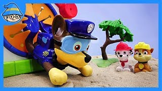 Paw Patrol Chase get house toy. escape to the ground hole.