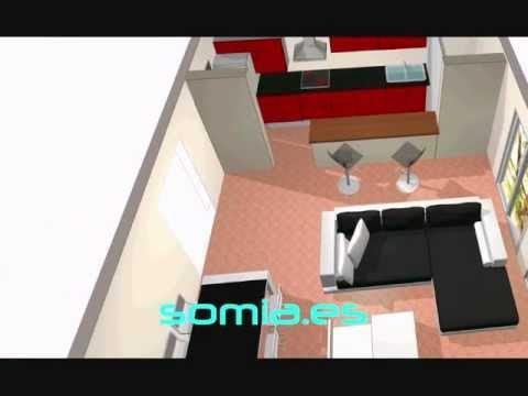 Dise o 3d salon cocina integrada youtube for Diseno cocinas 3d gratis espanol