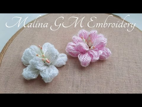 Flowers Cherry Blossoms | Easy Woolen Flower Ideas | 3D Embroidery