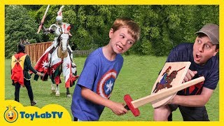 Jousting at Renaissance Festival Family Fun Amusement Park with Aaron, LB & Outdoor Kids Activities