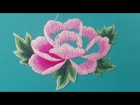 Pink Peony. Hand embroidery for beginners | Long and short stitches (in details)