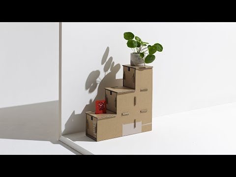 Revaz Berdzenishvili repurposes Samsung Eco-Package cardboard box to create stepped storage unit