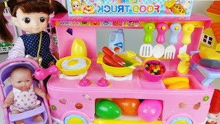 Baby doll food car kitchen and surprise eggs food cooking toys play 아기인형 푸드버스 주방놀이 요리 자동차 장난감 - 토이몽