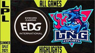EDG vs LNG Highlights | LPL Summer 2021 W9D4 | Edward Gaming vs LNG Esports