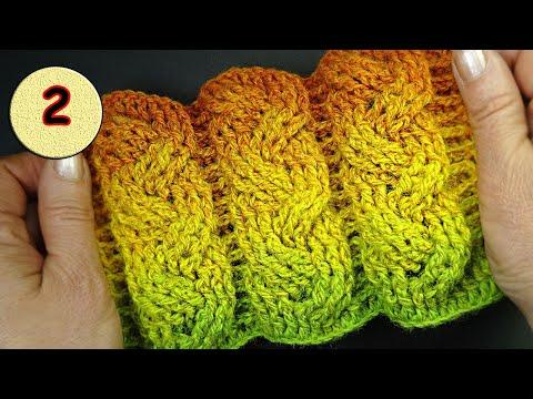 Объёмная коса крючком  2 часть 4-5-6 ряды Узоры вязания крючком