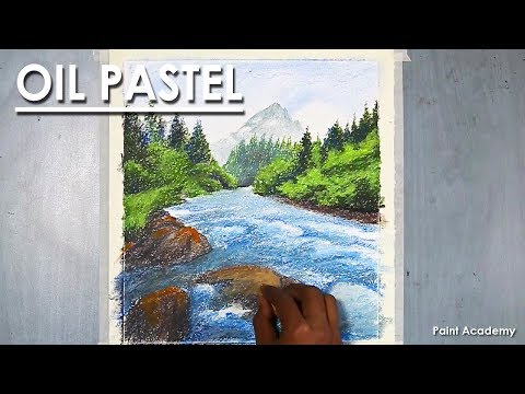 How to Paint A Mountain Landscape with Flowing River in Oil Pastel