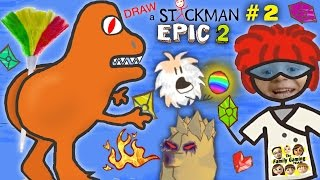 FEATHER BUTT DINOSAUR!! DRAW A STICKMAN EPIC 2 🚸 Part 2: Find the Gems! (FGTEEV Chapter 2 Gameplay)