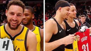 Stephen Curry & Seth Curry Exchange Jerseys During Klay Thompson's Interview   December 29, 2018