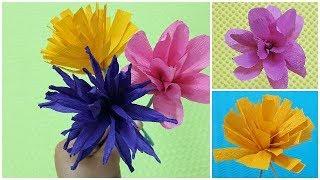 3 easy  ways to make flowers using crepepaper/ easy for children