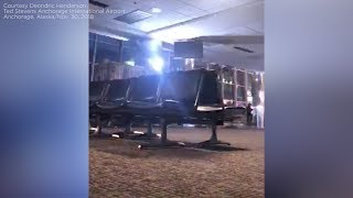 Moment earthquake strikes in Anchorage airport