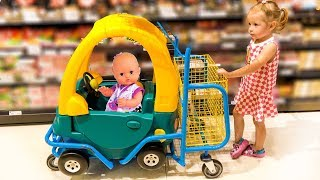 Nastya Pretend Play in Shopping with Baby Doll and Toys!