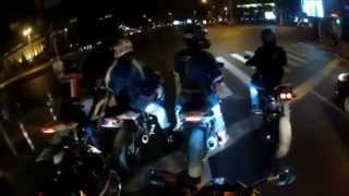 Crazy bikers escape from police , doing wheelie and drifting [SICK]