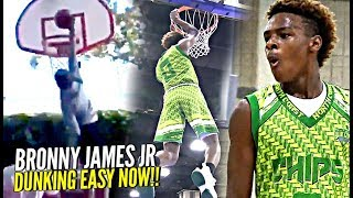Bronny James Jr DUNKING EASY NOW! 1st Dunk at Crossroads! + FULL 7th Grade Highlights!
