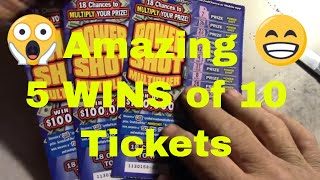 Amazing 5 WINS out of 10 Power Shot Multipliers California Lottery Scratchers