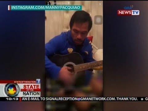SONA: Manny Pacquiao, nakipag-jamming habang naka-break sa training