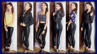 How To Style Embroidered Faux Leather Leggings / Pants from H&M