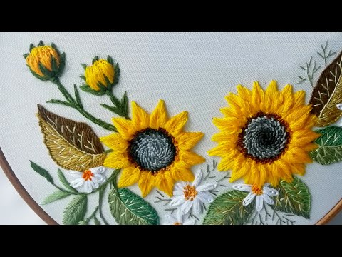 Embroidery Sunflower | Buttonhole & Detached Stitches | Design by Malina GM