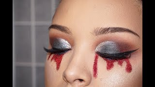 Red glitter Tears makeup tutorial | @pdx_dez