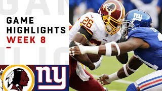 Redskins vs. Giants Week 8 Highlights | NFL 2018