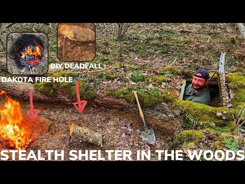 Solo Overnight Building a Stealth Shelter In The Woods with Bacon Mac and Cheese Bison Burgers