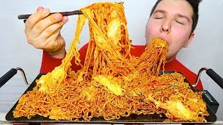 THE BEST CHEESY SPICY FIRE NOODLES I'VE EVER MADE • Mukbang & Recipe