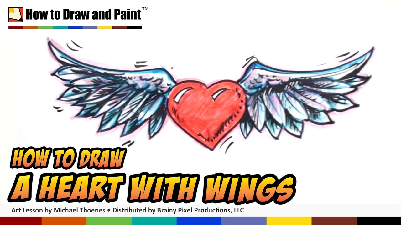 How to Draw a Heart with Wings - MAT - YouTube