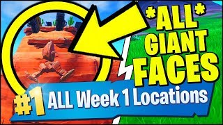 VISIT A GIANT FACE IN THE DESERT, THE JUNGLE AND THE SNOW (Forntite Season 8 Week 1 Challenges)
