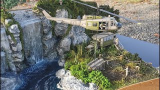 Realistic Waterfall with Bell UH1 / Realistischer Wasserfall in scale 1:48