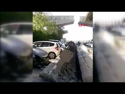 Alsancak'ta depremin ardından viyadüğün kolonları araçların üzerine düştü