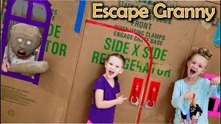 Escape the Babysitter Granny in Real Life! Escape Rooms & Locking Granny in Giant Box Fort!!!