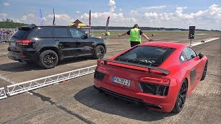 707HP Jeep Trackhawk vs Audi R8 V10 Plus with Akrapovic Exhaust